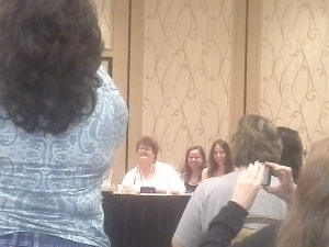 Charlaine Harris and Jeannine Frost at a RT14 panel. I take lousy photos. Deal with it.
