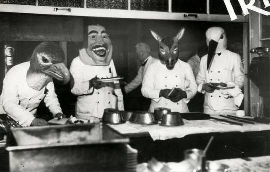 Vintage Mardi Gras - Waiters with animal masks